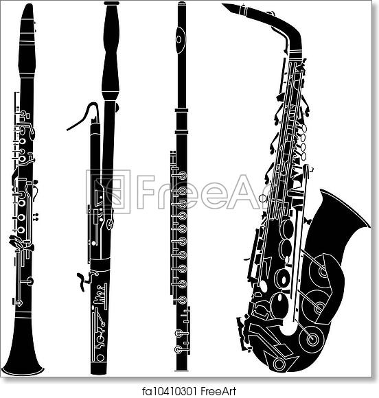 free art print of woodwind instruments silhouettes