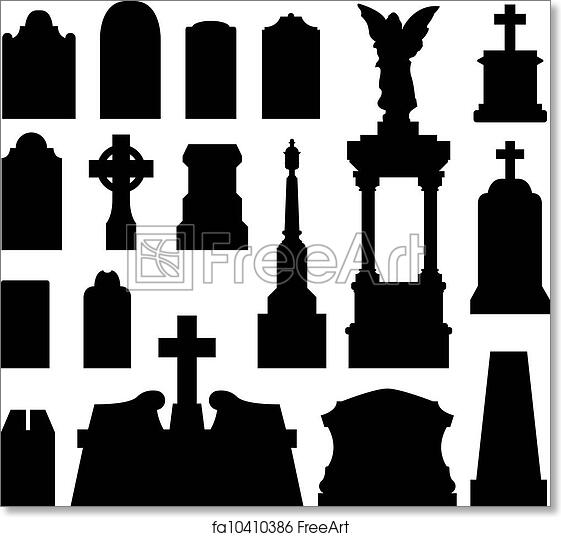 Free art print of Headstone and gravestone silhouette. Headstone and ...