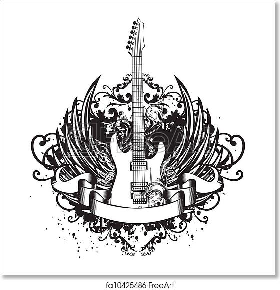 Free art print of Guitar with wings, patterns