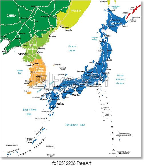 picture relating to Printable Maps of Japan known as Totally free artwork print of Japan map