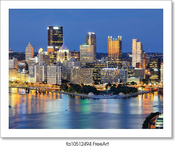 Pittsburgh Skyline: Free Art Print Of Pittsburgh Skyline. Skyline Of Downtown
