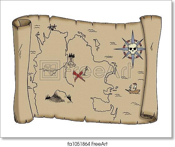 Free Art Print Of Blank Treasure Map