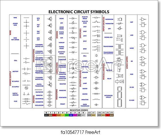 electronic schematics symbols circuits free art print of electronic circuit symbols complete set of  art print of electronic circuit symbols