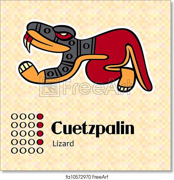 Free Art Print Of Aztec Symbol Cuetzpalin Aztec Calendar Symbols