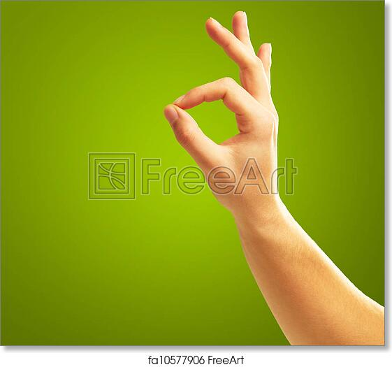 Free Art Print Of Ok Hand Sign Ok Hand Sign On Green Background