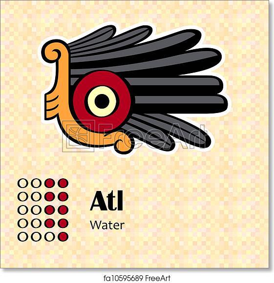 Free Art Print Of Aztec Symbol Atl Aztec Calendar Symbols Atl Or