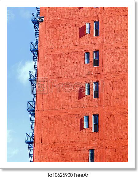 free art print of fire escape ladder at an old brick skyscra