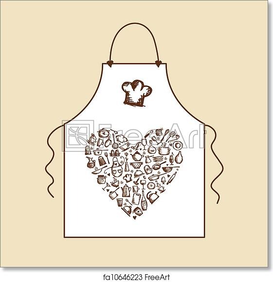 Free Art Print Of I Love Cooking! Apron With Kitchen Utensils Sketch For  Your Design
