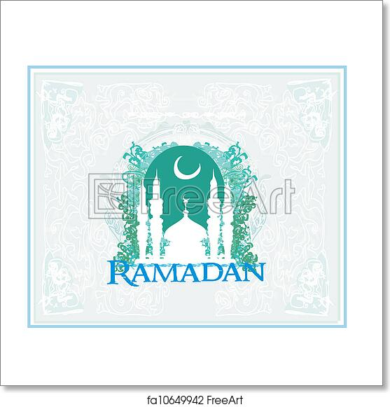 photograph regarding Ramadan Cards Printable identified as Cost-free artwork print of Ramadan historical past - mosque silhouette case in point card