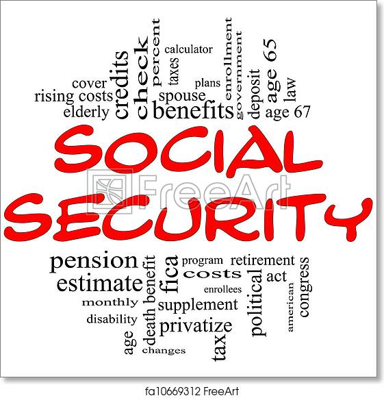 Free art print of Social Security Word Cloud Concept in red & black