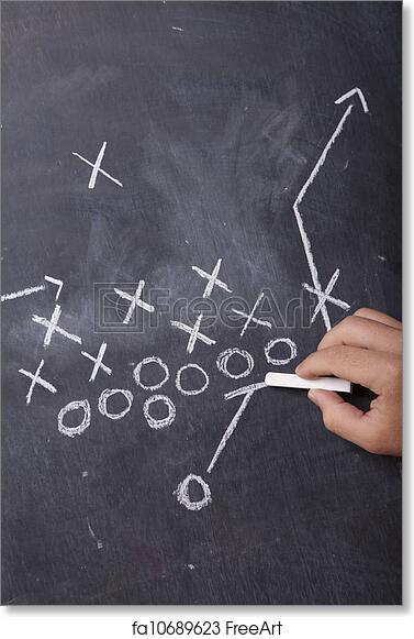 free art print of coach drawing football play a hand draws a