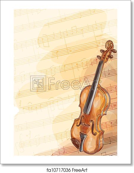 Free art print of Violin on music background with handmade notes