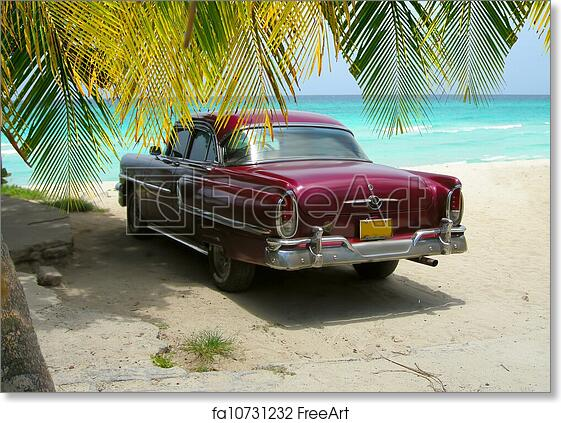 Free Art Print Of Cuba Beach Classic Car And Palms