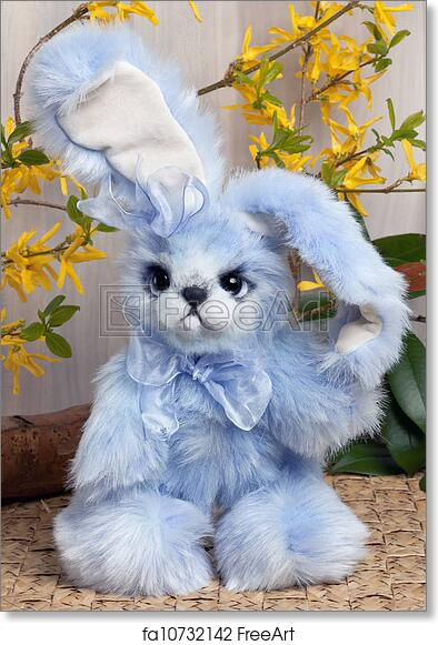 free art print of funny easter bunny cuddly lovable little blue
