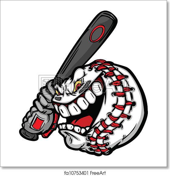 free art print of baseball with cartoon face swinging bat vector