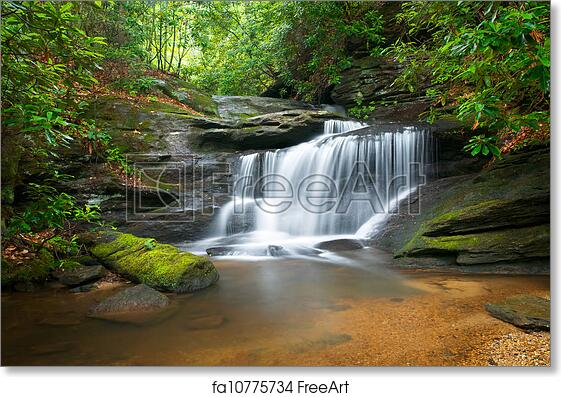 free art print of motion blur waterfalls peaceful nature landscape