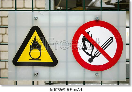 picture relating to Oxygen in Use Sign Printable identify No cost artwork print of Fireplace caution signs or symptoms compressed oxygen fuel cylinders