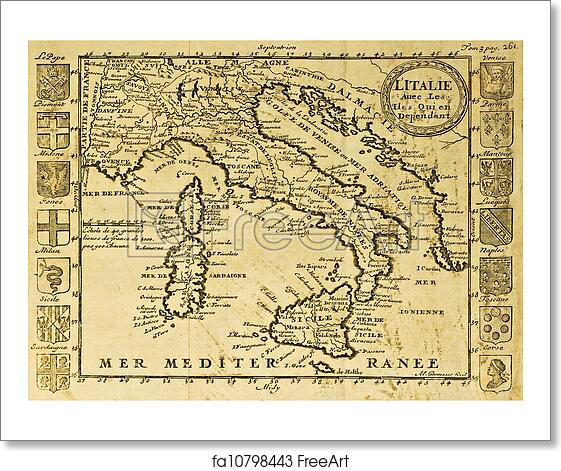 Printable Map Of Italy Free.Free Art Print Of Italy Old Map