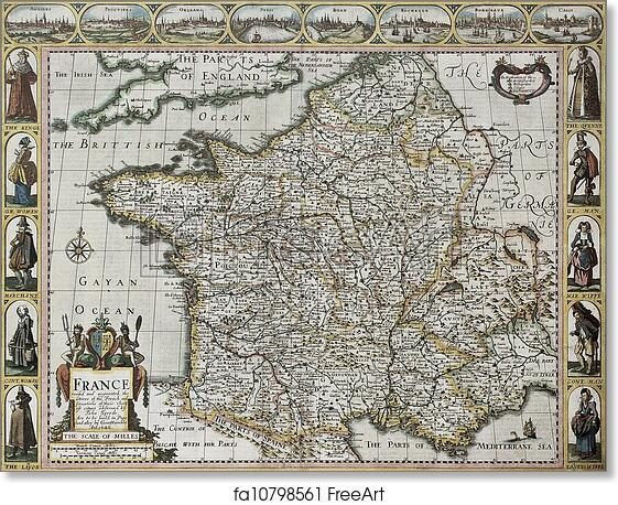 Old Map Of France.Free Art Print Of France Old Map
