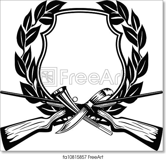 Free Art Print Of Frame Hunting Vector Image Board Crossed Guns