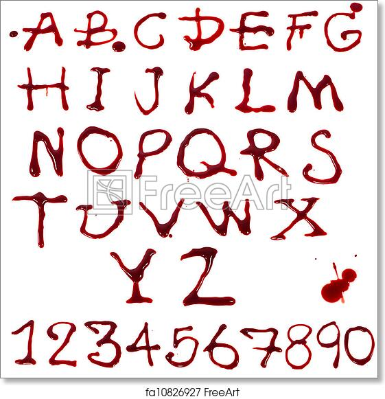 Free art print of Letters A-Z and 1-10 dripping with blood on white background | FreeArt | fa10826927