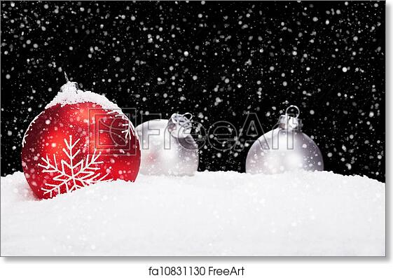 free art print of red and silver christmas balls in snow on black background while snowing freeart fa10831130 - Red And Silver Christmas Ornaments