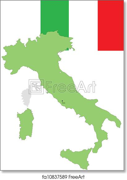 graphic relating to Printable Italy Flag named Absolutely free artwork print of Italy, Italian flag and map, vector
