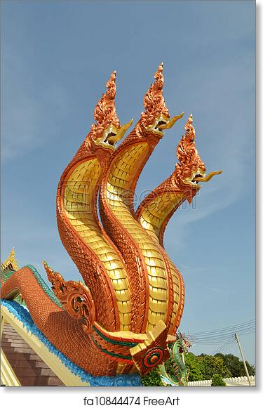 Free art print of Thai dragon, King of Naga statue with three heads in  Thailand