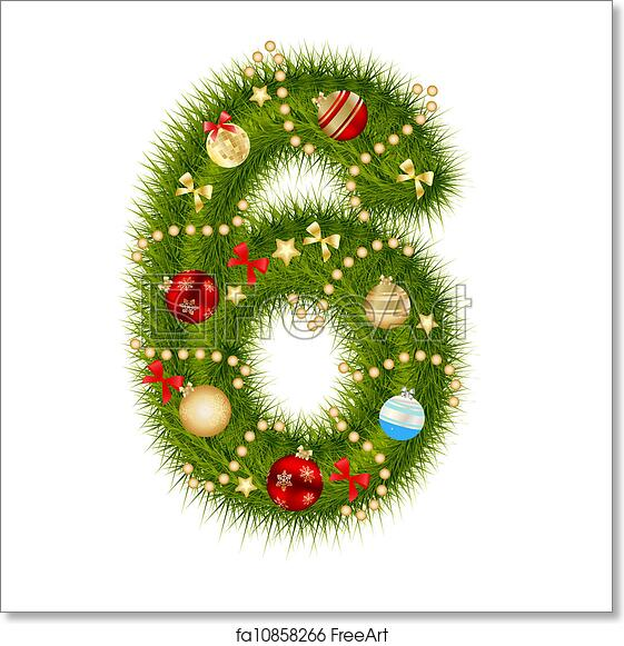 Christmas Alphabet.Free Art Print Of Christmas Alphabet Number Vector Illustration
