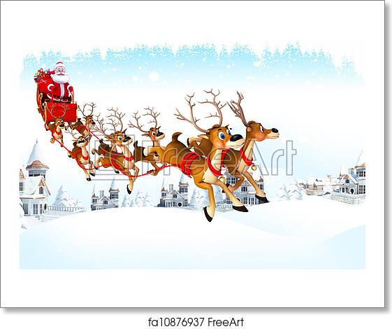 free art print of santa claus with his sleigh 3d art illustration