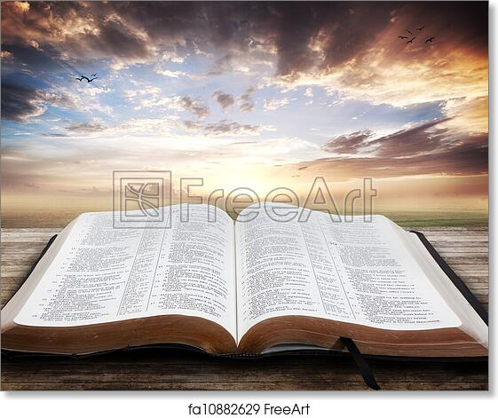 Free Art Print Of Sunset With Open Bible Open Bible With