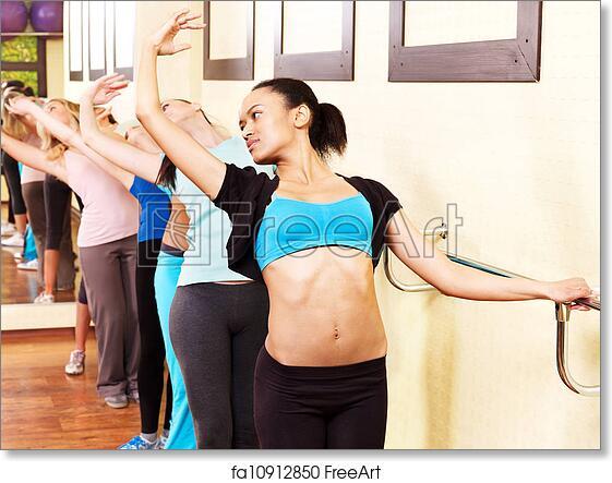 free art print of women in aerobics class women group in aerobics