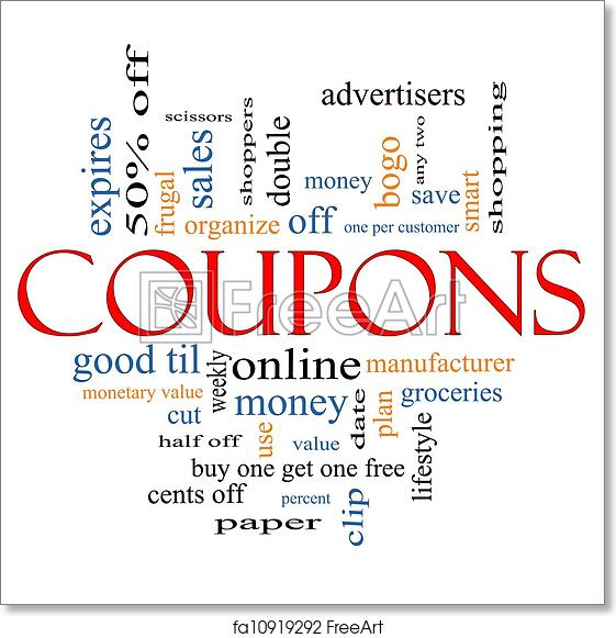 Free Art Print Of Coupons Word Cloud Concept Coupons Word Cloud