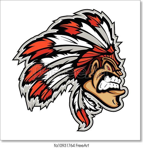 Free Art Print Of Indian Chief Mascot Head Vector Cartoon Cartoon