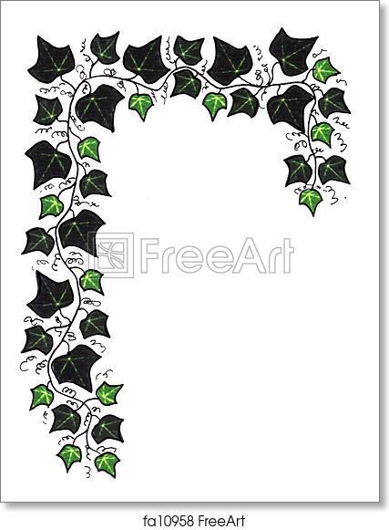 free art print of green ivy border ivy border illustration