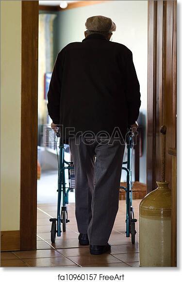 Free art print of Elderly man use a walker (walking frame) . An old ...