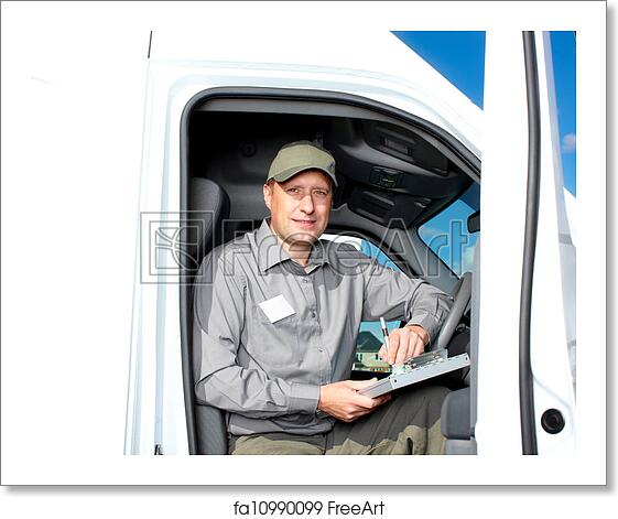 Free art print of Handsome truck driver