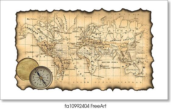Free Art Print Of Ancient Map Of The World Compass Ancient Map Of