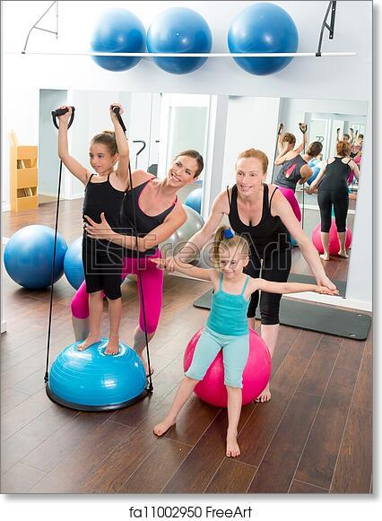 free art print of aerobics pilates women kid girls personal trainer