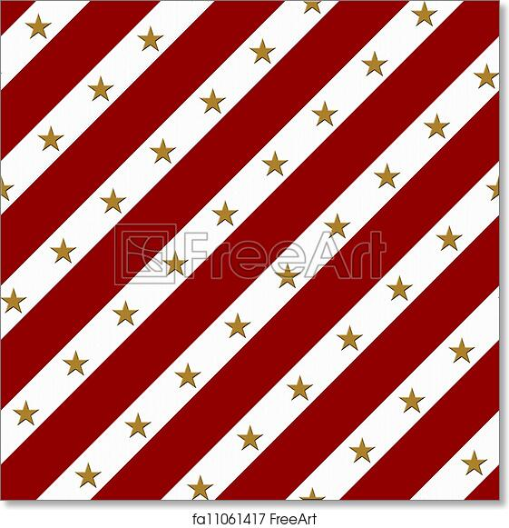 Free Art Print Of Red And White Striped Fabric Background With Gold