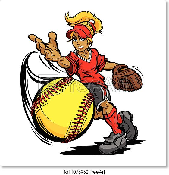 Free art print of Softball Tournament Art of a Fastpitch Ball Thrown by  Fast Pitch Softball Pitcher Cartoon Vector Illustration