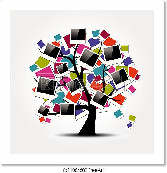 free art print of memory family tree with polaroid photo frames