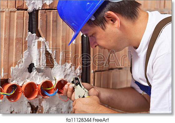 free art print of worker installing electrical wires in building rh freeart com
