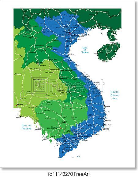 Free art print of Vietnam map