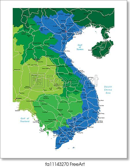 Free art print of Vietnam map. Detailed vector map of Vietnam with ...