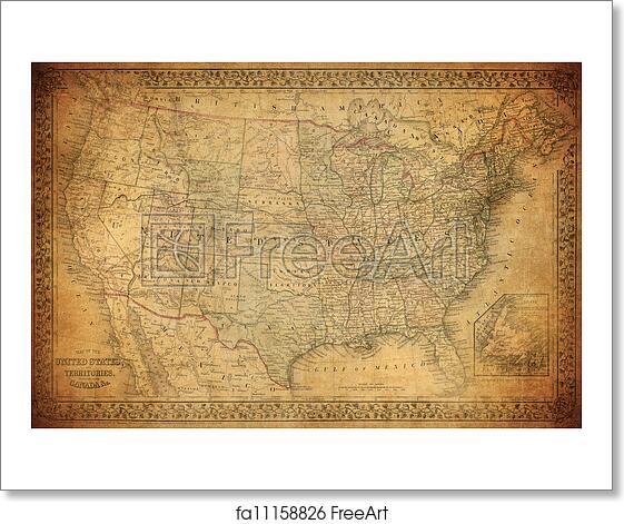 Us Map Artwork.Free Art Print Of Vintage Map Of United States 1867 Freeart