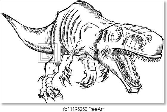 Free Art Print Of Sketch Dinosaur T Rex Vector Sketch Tyrannosaurus