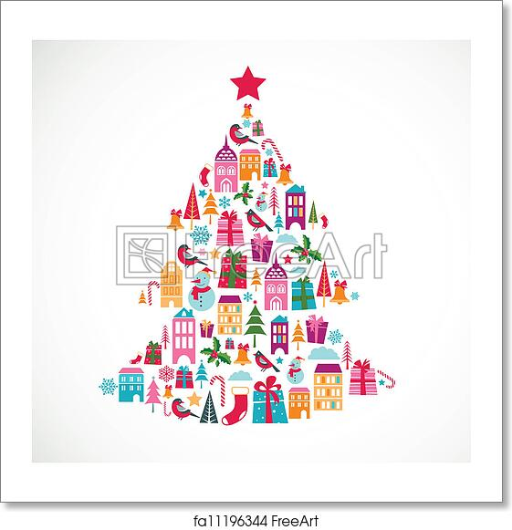 Christmas Tree Icons.Free Art Print Of Abstract Christmas Tree With Cute Icons And Design Element
