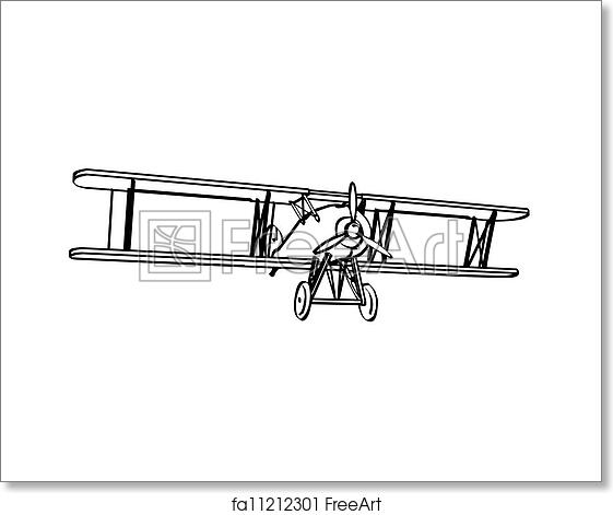 Free Art Print Of Silhouette Old Biplane