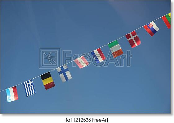 free art print of european flags in a clear blue sky flags of